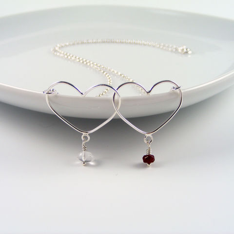 Silver,Double,Heart,Birthstone,Necklace,Jewelry,Tanya_Garfield,UK_handmade,free_UK_delivery,birthstone_necklace,double_birthstone,bridal_necklace,bridal_gift,delicate_necklace,two_hearts,classic_necklace,heart_necklace,personalised_gift,custom_necklace