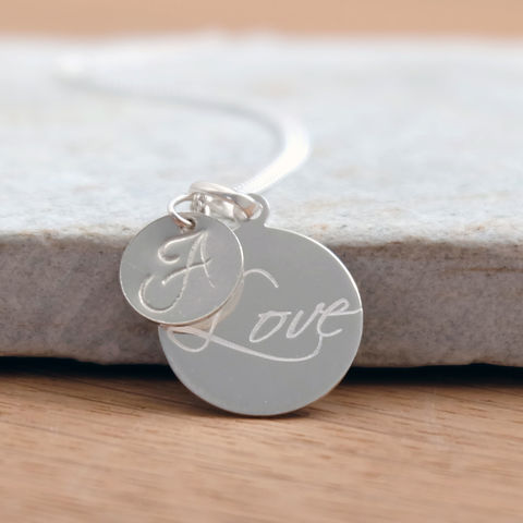 Silver,Initial,Love,Necklace,Jewelry,Tanya_Garfield,UK_handmade,free_UK_delivery,monogram_necklace,script_pendant,initial_pendant,bridal_necklace,bridal_pendant,love_pendant,modern_pendant,ID_necklace,personalised_gift,birthstone_necklace