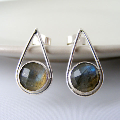 Silver,Labradorite,Teardrop,Earrings,Jewelry,Tanya_Garfield,UK_handmade,free_UK_delivery,bridal_studs,bridal_earrings,bridesmaid_earrings,teardrop_studs,alternative_studs,contemporary_studs,modern_studs,simple_studs,grey,classic_earrings