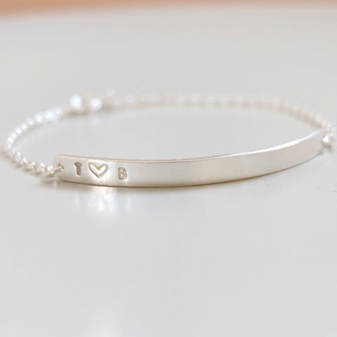 Couple's,Silver,Heart,Bracelet