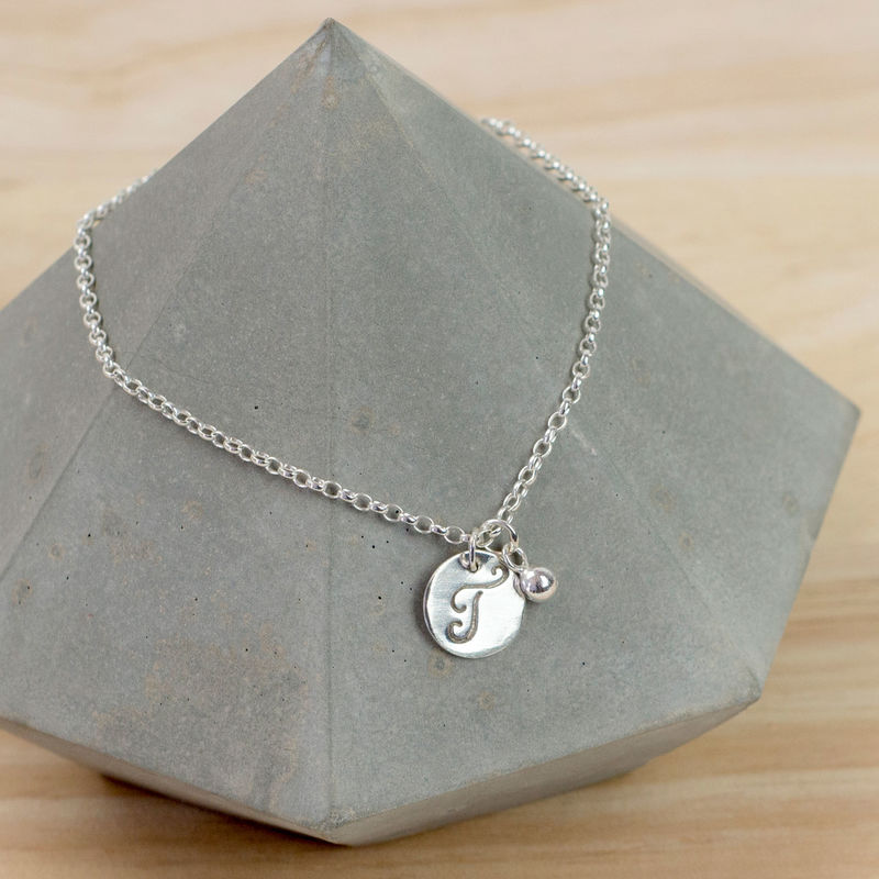 Personalised silver initial charm bracelet tanya garfield jewellery mozeypictures Image collections