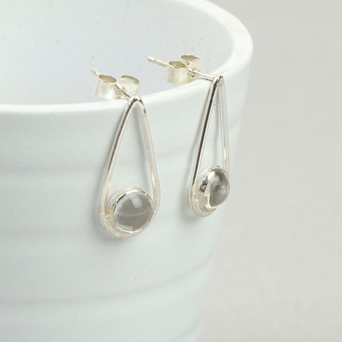 Silver,Rock,Quartz,Teardrop,Earrings,sterling silver earrings, rock quartz earrings, teardrop earrings