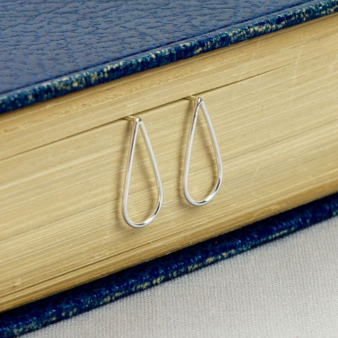 Silver,Open,Teardrop,Earrings,sterling silver earrings, teardrop earrings