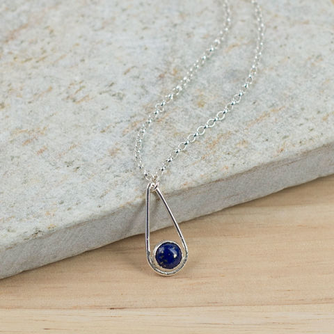 Silver,Lapis,Teardrop,Necklace,lapis lazuli necklace, sterling silver necklace, teardrop necklace