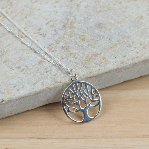 Silver,Family,Tree,Necklace,family tree necklace, circle of life necklace, sterling silver pendant