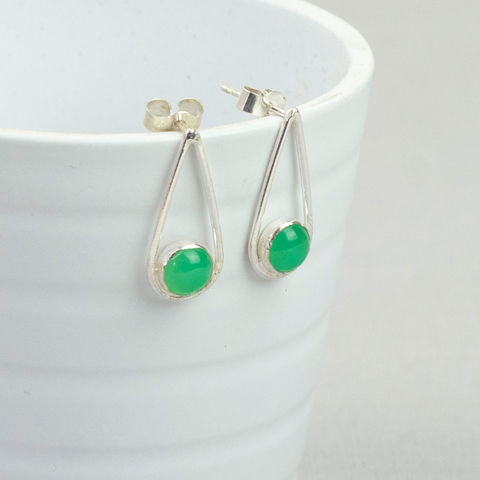 Silver,Chrysoprase,Teardrop,Earrings,chrysoprase teardrop earrings, sterling silver earrings, teardrop earrings, may birthstone earrings