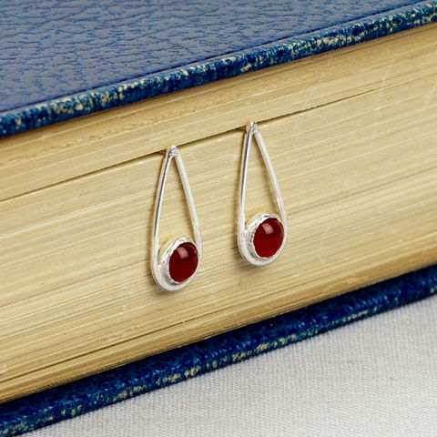 Silver,Carnelian,Teardrop,Earrings,carnelian earrings, sterling silver earrings, modern july birthstone jewellery