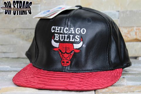 VINTAGE,Leather,Chicago,Bulls,Logo,7,Snakeskin,Strapback,Hat,*LIMITED,TO,3,PCS*