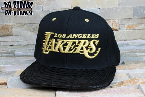Los,Angeles,Lakers,Gold,Snakeskin,Strapback,Hat