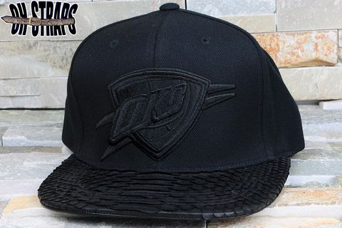 OKC,Thunder,Black,Out,Snakeskin,Strapback