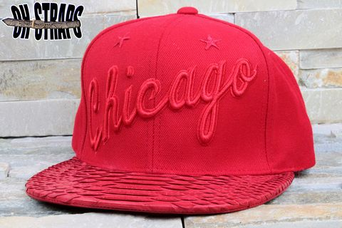Chicago,Bulls,Snakeskin,Strapback,Hat,*Red,October's,Edition*,Limited,to,4,pcs