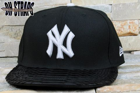 New,York,Yankees,Black,Snakeskin,Strapback,Hat