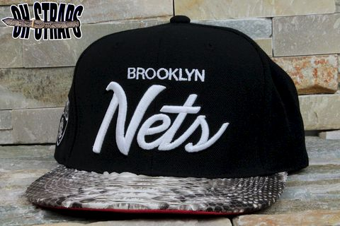 Brooklyn,NETS,Nat/Red,Snakeskin,Strapback,Hat