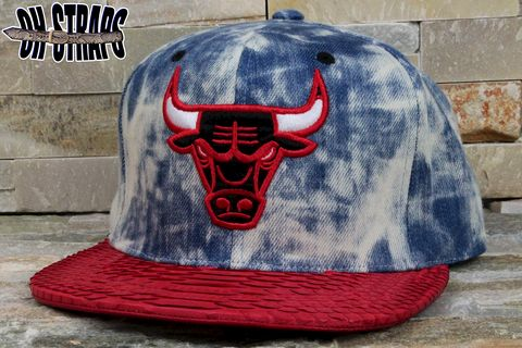 Chicago,Bulls,Acid,Wash,M&N,Snakeskin,Strapback,Hat