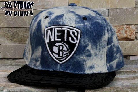 Brooklyn,Nets,Acid,Wash,M&N,Snakeskin,Strapback,Hat
