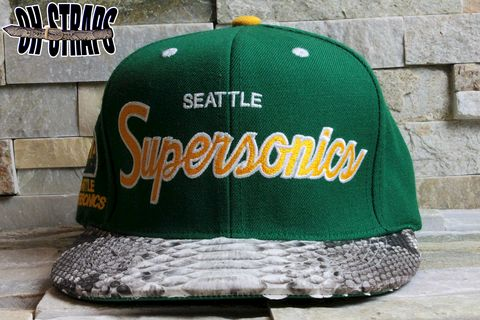 Seattle,Supersonics,Snakeskin,Strapback,Hat