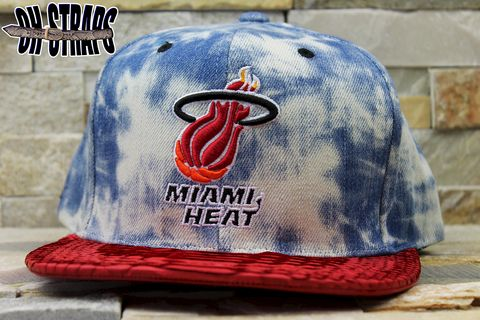 Miami,Heat,Acid,Wash,M&N,Snakeskin,Strapback,Hat