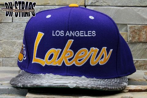Los,Angeles,Lakers,Snakeskin,Strapback,Hat
