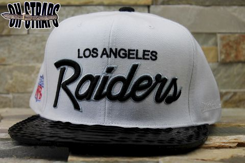 Los,Angeles,Raiders,White,M&N,Snakeskin,Strapback,Hat