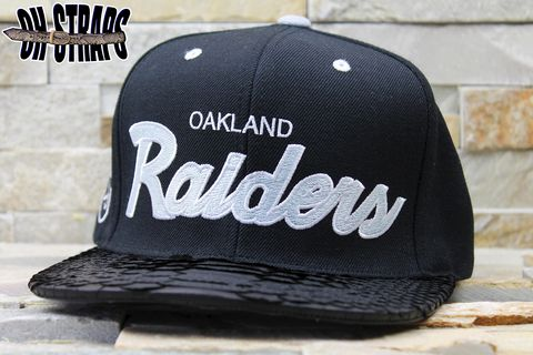 Los,Angeles,Raiders,Black,M&N,Snakeskin,Strapback,Hat