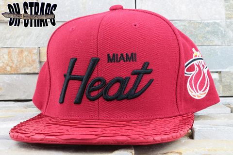 Miami,Heat,Fire,Red,M&N,Snakeskin,Strapback,Hat