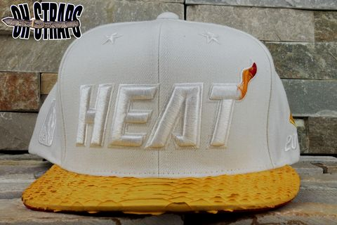 Miami,Heat,Snakeskin,Strapback,Hat,*White,Hot,Edition*,Limited,to,5,pcs