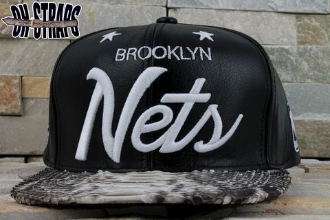 Brooklyn,NETS,Snakeskin,Strapback,Hat,Natural,Snake*LEATHER,MCHG*