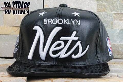 Brooklyn,NETS,Snakeskin,Strapback,Hat,*LEATHER,MCHG*