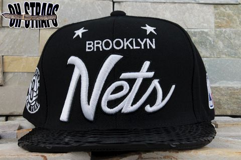 *NEW*,Brooklyn,Nets,Snakeskin,Strapback,Hat,*Black,MCHG,Edition*