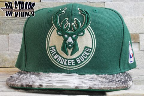 Milwaukee,Bucks,Logo,Snakeskin,Strapback,Hat