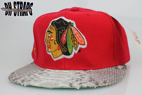VINTAGE,Chicago,Blackhawks,Blockhead,Snakeskin,Strapback,Hat,*1,of,1*