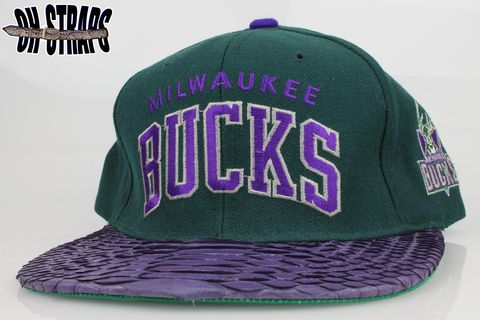 VINTAGE,Milwaukee,Bucks,Arc,STARTER,Snakeskin,Strapback,Hat,*1,of,1*