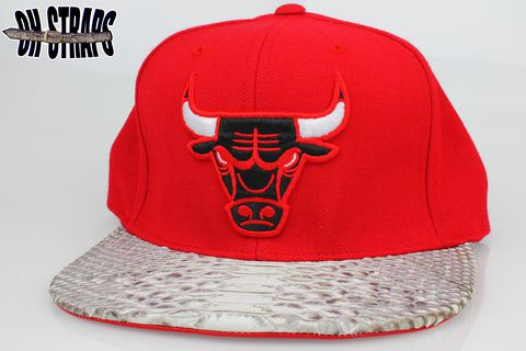 Chicago,Bulls,Red,Snakeskin,Strapback,Hat