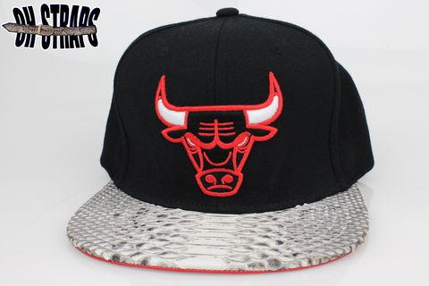 Chicago,Bulls,Black,Snakeskin,Strapback,Hat