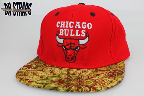 Chicago,Bulls,Paisley,Leather,Custom,Strapback,Hat