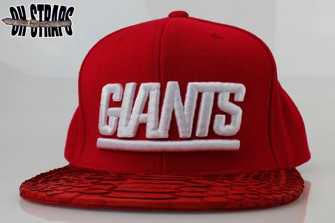 New,York,GIANTS,Solid,Red,Snakeskin,Strapback,Hat