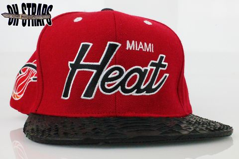 Miami,Heat,Script,M&amp;N,Snakeskin,Strapback,Hat