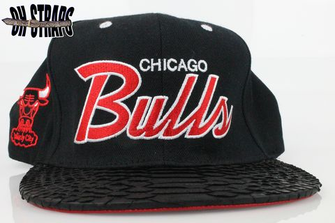 Chicago,Bulls,Black,Script,M&amp;N,Snakeskin,Strapback,Hat