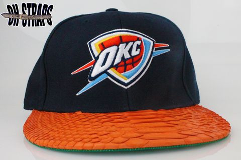 OKC,Thunder,Wool,Orange,Snakeskin,Strapback,Hat