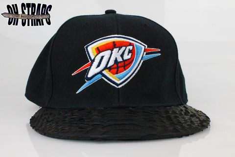 OKC,Thunder,Wool,Black,Snakeskin,Strapback,Hat