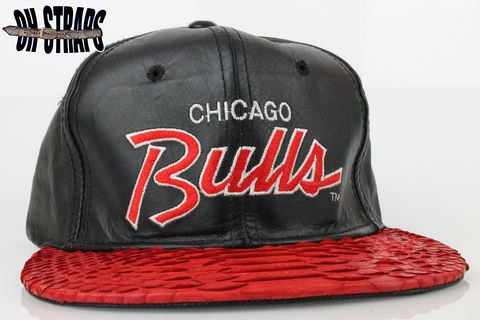 VINTAGE,Leather,Chicago,Bulls,SS,Script,Snakeskin,Strapback,Hat,*1,of,1*