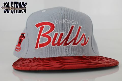 Chicago,Bulls,M&amp;N,Gray,Script,Snakeskin,Strapback,Hat