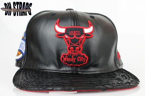 Chicago,Bulls,Leather,Snakeskin,Strapback,Hat