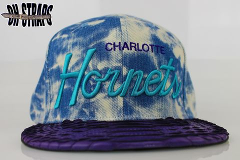 Charlotte,Hornets,Acid,Wash,M&N,Snakeskin,Strapback,Hat,*LIMITED,TO,5,PCS*