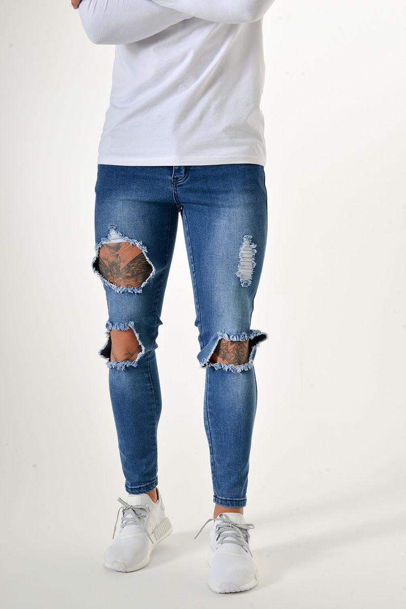 Sinners Attire Destroyed Jeans Dark Wash - The Yard