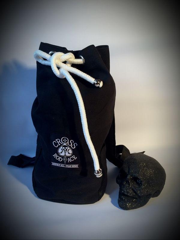 2162bcc8cea8 Canvas Duffle Rucksack Bag - Black - Cross RodAce - Lifestyle Apparel  Company