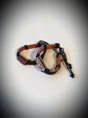 CrossRodAce,Leather,Tiki,Bracelets,-,White,Cross, Rod, Ace, www.CrossRodAce.com, CrossRodAce, Black, Leather, Hemp, White, Brown, Tiki, Man, Adjustable, Cord, Charm, Bracelet, Hotrod, hot, rod, cars, bikes, choppers, bobber, hotrodder, kustom, lowrider, low, rider, drag, racing, racer, dragracer,