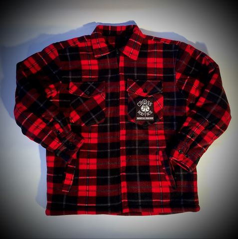 CrossRodAce,Padded,Lumberjack,Flannel,Jacket-Red/Black,Cross, Rod, Ace, www.CrossRodAce.com, CrossRodAce, Quilted, Lumberjack, Flannel, Fur, Warn, Biker, Hotroder, Men, Jacket, Hotrod, hot, rod, cars, bikes, choppers, bobber, hotrodder, kustom, lowrider, low, rider, drag, racing, racer, dragracer