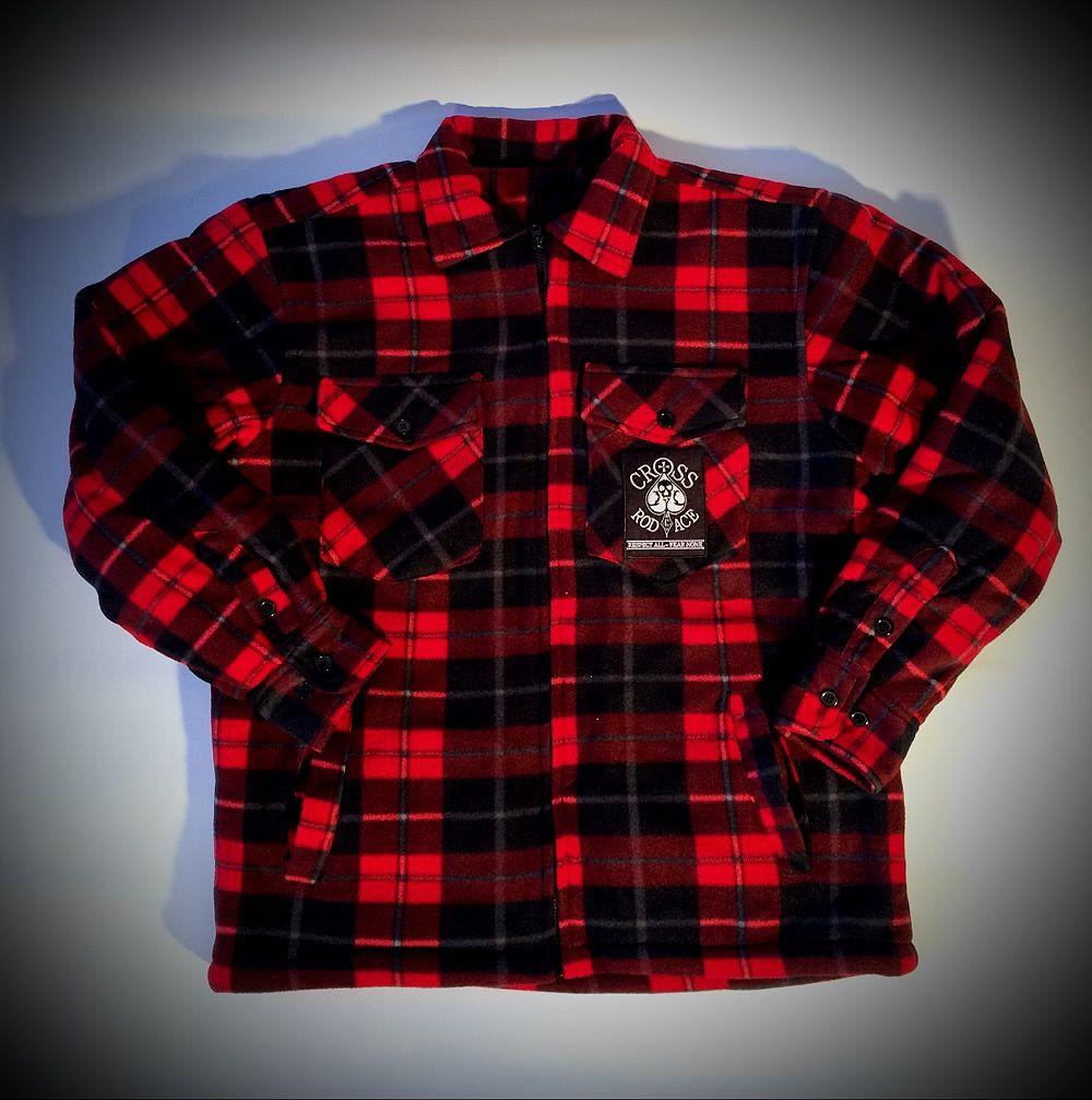 CrossRodAce Padded Lumberjack Flannel Jacket-Red/Black ...