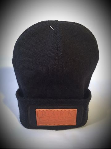 CrossRodAce,RAFN,Leather,Patch,Printers,Beanie,-,Black/Tan,Cross, Rod, Ace, www.CrossRodAce.com, CrossRodAce, RAFN, Black, Wooly, Beanie, Hat, With, Tan, Leather, Respect, All, Fear, None, Patch, Hotrod, hot, rod, cars, bikes, choppers, bobber, hotrodder, kustom, lowrider, low, rider, drag, racing, racer, dragrac